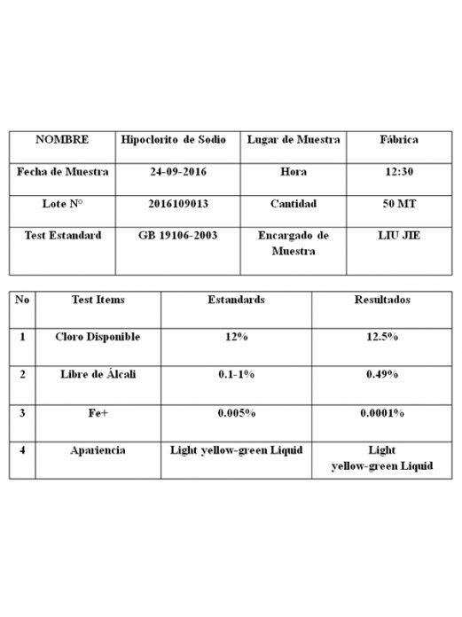 Hypoclorito de Sodio 12,5% - Importador Directo - Fábrica China Verificada - Producto Garantizado