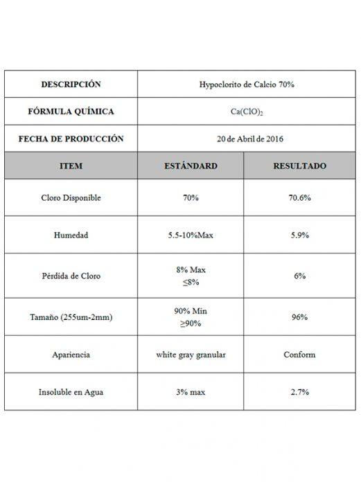 Hypoclorito de Calcio 70% - Comprar en China - Fábrica Visitada - Importador Directo - Mejor Precio